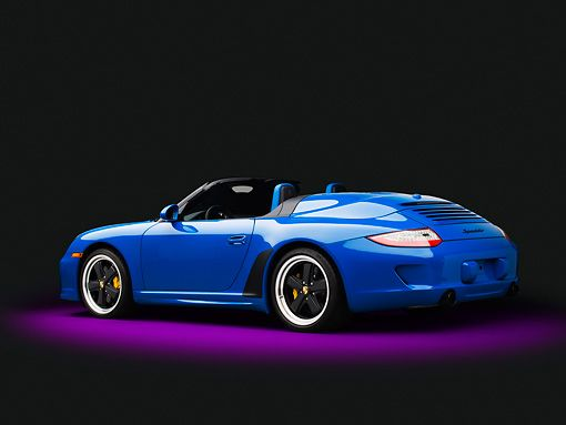 POR 07 RK0134 01 © Kimball Stock 2011 Porsche 911 Speedster Convertible Blue 3/4 Rear View In Studio