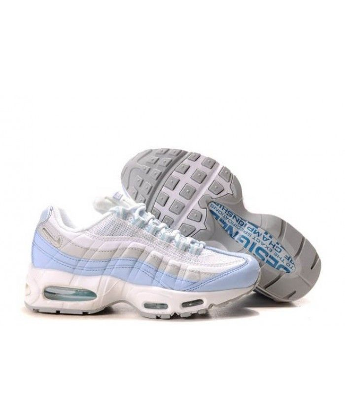 sneakers for cheap f226a 428a7 Nike Air Max 95 Light Grey White Blue Trainers