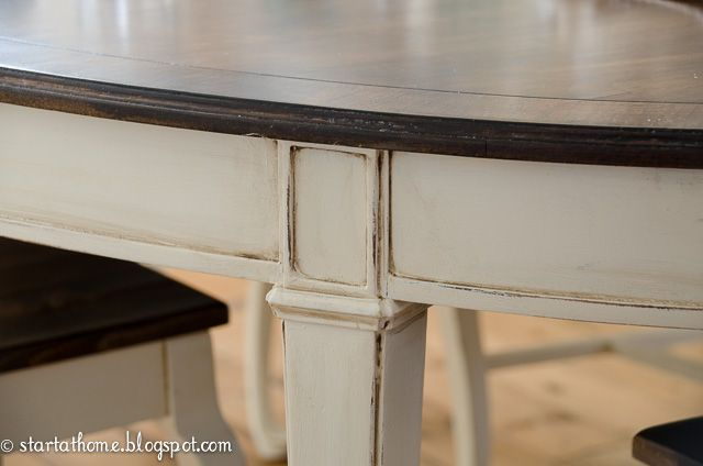 Repainting Kitchen Table in White and Brown :: Hometalk