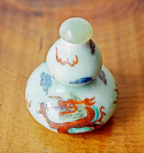 Asian Snuff Bottle Hand Painted Snuff Bottle Double Gourd
