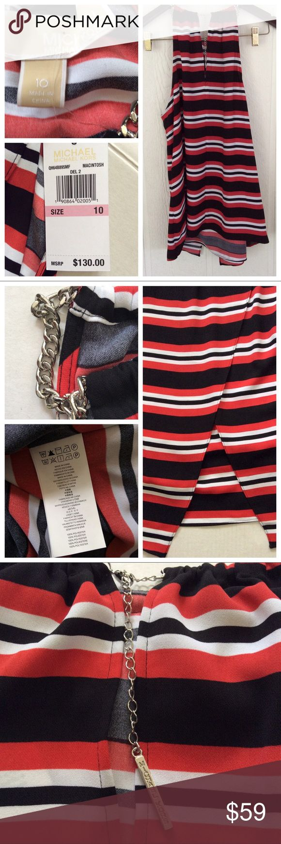 NWT MICHAEL KORS NECKLACE CHAIN TOP A colorful stripe print lends a sense of romance to this flowy top. Detailed with silver-tone chain trim at the neck with a logo detailed block that hangs in the keyhole cutaway at back, super sexy and flirty cutaway front panel for ultra feminine chic!   It's the perfect way to enliven a pair of white trousers or relaxed boyfriend jeans. Michael Kors Tops