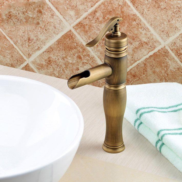 Ванной для ванной нажмите туалет античная бронзовая отделка бассейна смесители одной рукой умывальник кран