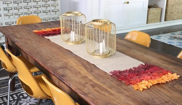chemin de table d 39 automne diy id es inspirantes et sympas toile jute et bricolage. Black Bedroom Furniture Sets. Home Design Ideas
