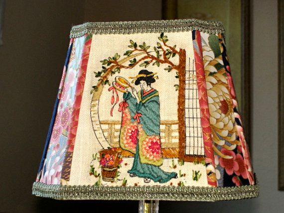 Asian Decor Fabric Lampshade Geisha Lamp Shade Vintage Hand Done Crewel Work Embroidery Oriental Style Lamps Lighting Pinterest Shades