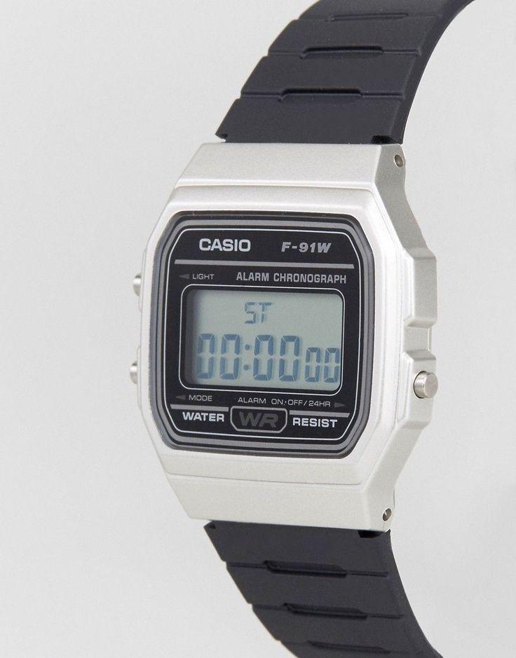 Casio Digital Silicone Strap Watch in Black/Silver F91WM-7A - Black