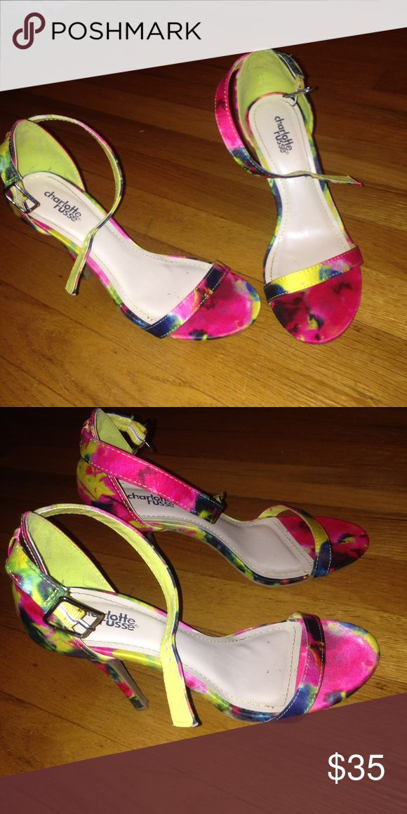 Floral heels Floral heeled sandals. Never worn outside of the house. Charlotte Russe Shoes Heels