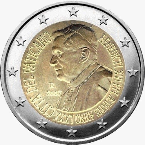 2 Euro Commemorative Coins: 2 euro coins Vatican City 2007, 80th birthday of His Holiness Pope Benedict XVI. Commemorative 2 euro coins from Vatican City