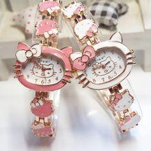2015 nuevo hola gatito relojes para mujer de moda Quart reloj Vintage niños dibujos animados relojes de pulseras analógico rey niña marca de cuarzo mujer(China (Mainland))
