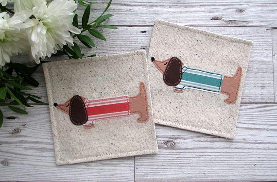 Mini Dachshund Coasters, Coaster Set, Dog Coasters, Dachshund Gift, His & Her's Gift, Coffee Coasters, Cup Coasters, Housewarming Gift