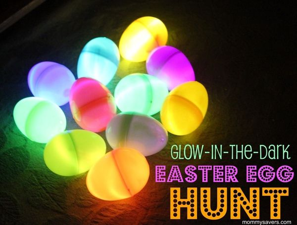 Glow in the dark Easter egg hunt uses bracelet glow sticks. Night