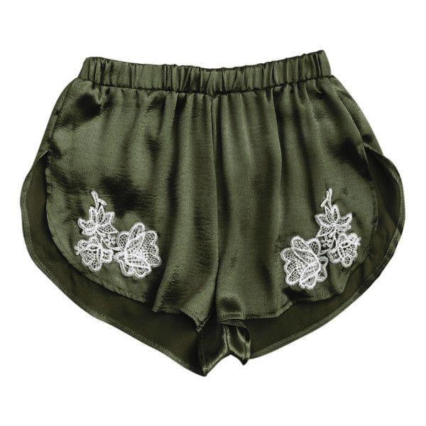 Applique Satin Dolphin Sleep Shorts Army Green ($13) ❤ liked on Polyvore featuring intimates, sleepwear, pajamas, satin pjs, satin pajamas, satin pyjamas and satin sleepwear