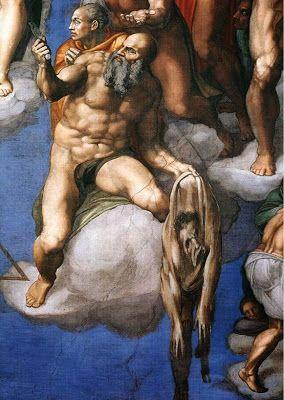 MIGUEL ÁNGEL. El Juicio Final. Apostol San Bartolomé sosteniendo una piel humana que representa su martirio (fue desollado). La cara de la piel es la de Miguel Ángel.