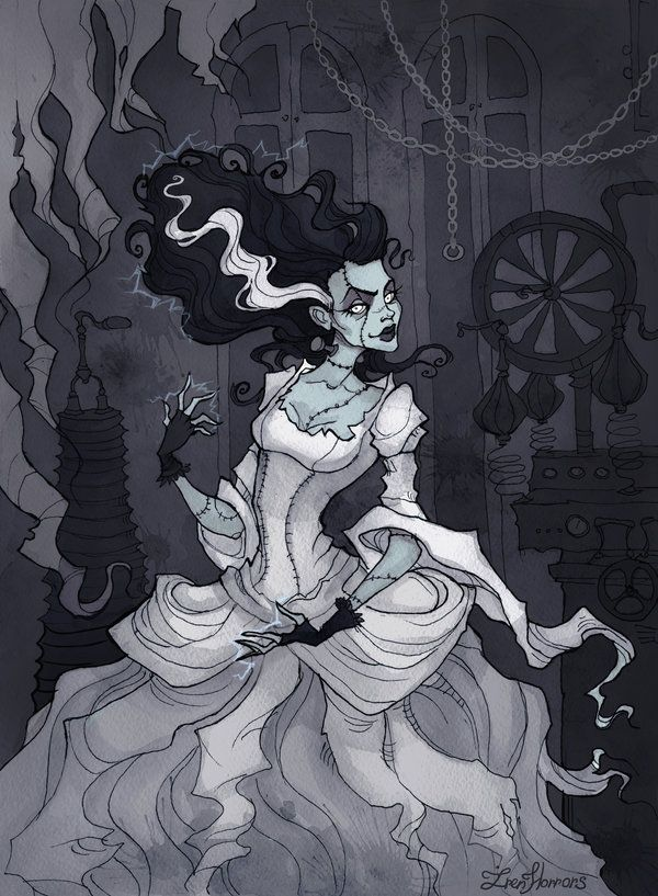 (Music:Rezurex – Bride Of Frankenstein) Old horror movies are just gorgeous Art prints available onsociety6 Pigmented ink fineliner, watercolor and a bit of Photoshop ...