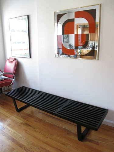 George Nelson Platform Bench 72 Herman Miller Black Slat Coffee