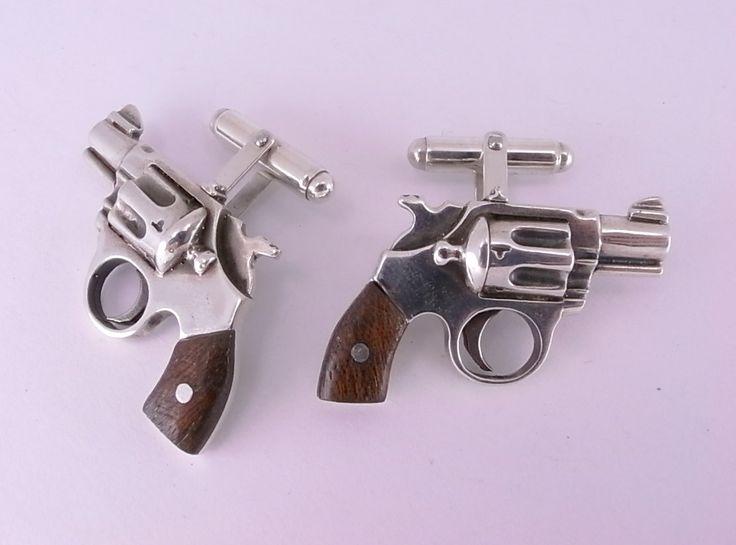 Sterling Silver Revolver Cufflinks by MetalCoutureJewelry -- view board http://pinterest.com/davidos193/essentials-men-s-accessories/