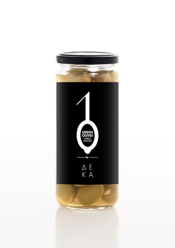 10 Olives​ / Series of products by DEKA. The visualization of number one, which in some packages like that of oil and olives symbolizes branch and the number zero is the visual coding of the product. In this product line the number zero is an elliptical cycle, according to the product packaging and added an item to visually refers to the type of olive in the package.