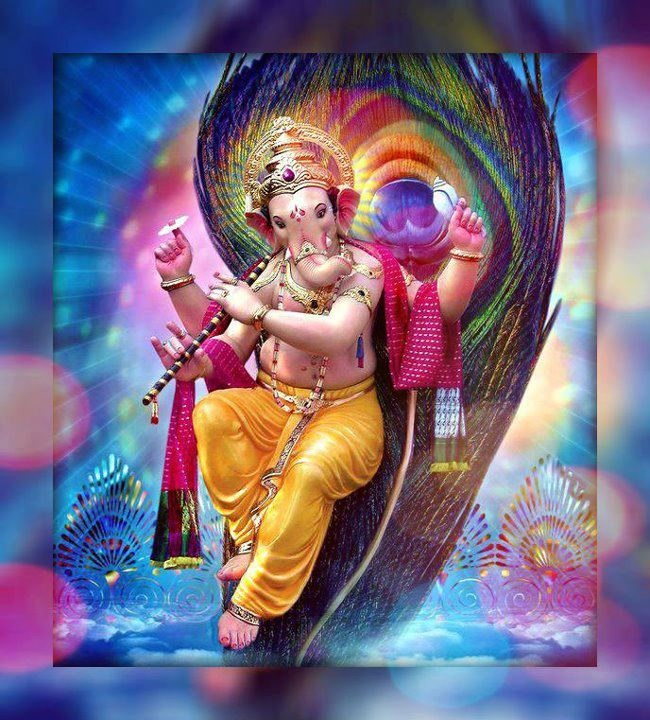 Lord Ganesha playing the flute