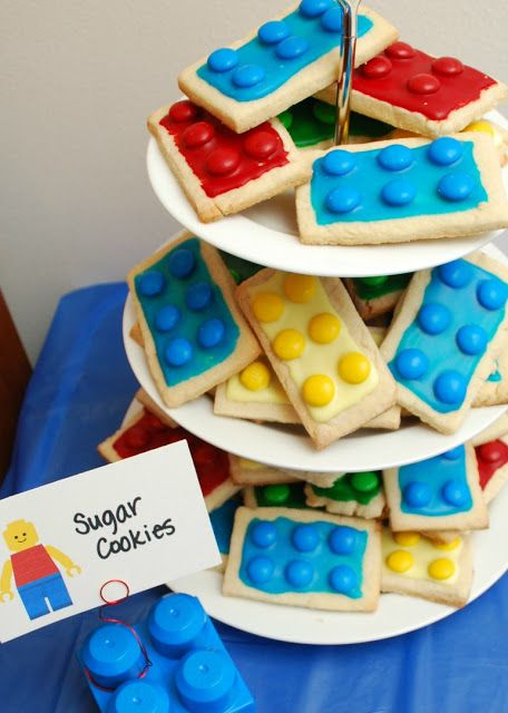 The Ultimate LEGO Party | One Artsy Mama Lots of cute ideas - cookies, lego 'ice' mold crayons and chocolate, favor bags