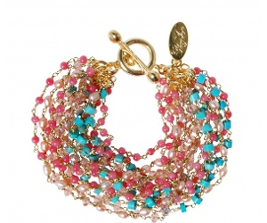 Perfect blend of subtle pop is this sweet beaded bracelet from Peeptoe. Showcasing the current seasons hot colours... its a perfect addition.