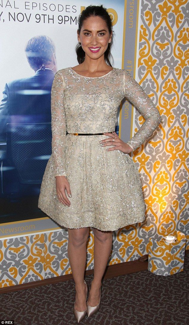 Shimmering: Olivia Munn looked delightful at the Los Angeles screening of HBO drama The Ne...