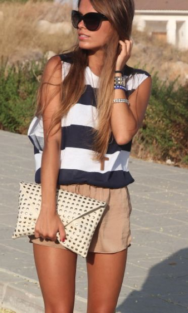 silk shorts: Summer Fashion, Navy And White, Summer Looks, Summer Style, Silk Shorts, Nude Shorts, Summer Stripes, Cute Summer Outfits, Summer Spr