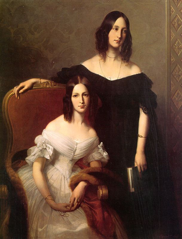 """""""Portrait of Two Sisters"""" (1840) by Edouard Louis Dubufe (1820-1883)."""