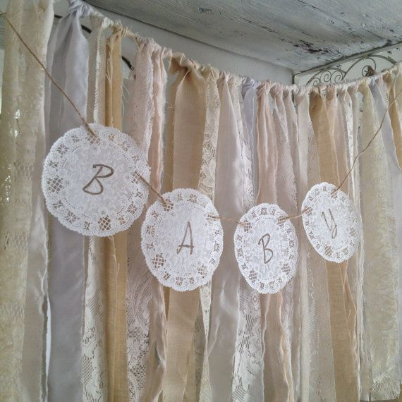 6ft Linen And Lace Baby Shower Garland Rustic Baby
