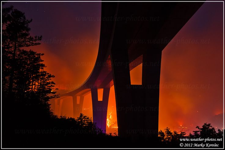 Highway to Hell ::After severe drought in SW Slovenia, ann extreme bush fire destroyed big areas of pine forests around and beneath motorway viaduct Crni Kal. Thakfully no damage was done to this architectural beauty::