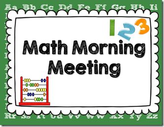Here's a terrific post with a wealth of ideas on how to run a math meeting time (think Calendar Math but bigger!).