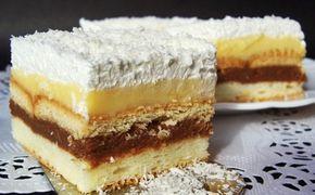 5 ksbílky 5 lžickr. cukr 3 lžíceolej 4 lžícehladká mouka 1/2 bal.prášek do pečiva Krém: 5 ksžloutky 150 gmoučkový cukr 3 bal.vanilkový cukr 4 lžíceGustin (kukuřičný škrob) 500 mlmléko 250 gmáslo 100 ghořká čokoláda Dále budeme potřebovat: 200 gsušenky bebe 2 bal.smetana ke šlehání