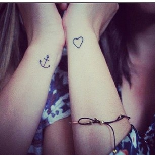 Heart and Anchor tattoos
