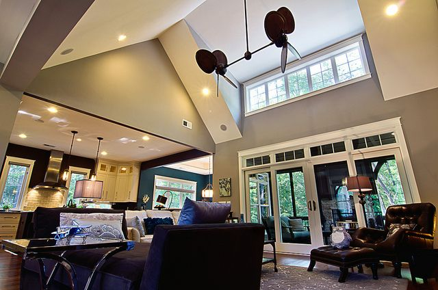 17 best images about vaulted ceiling rooms on pinterest for Open floor plans with vaulted ceilings