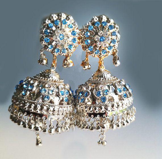 SILVER Jhumka EarringsLarge Blue Silver Jhumkas by taneesijewelry