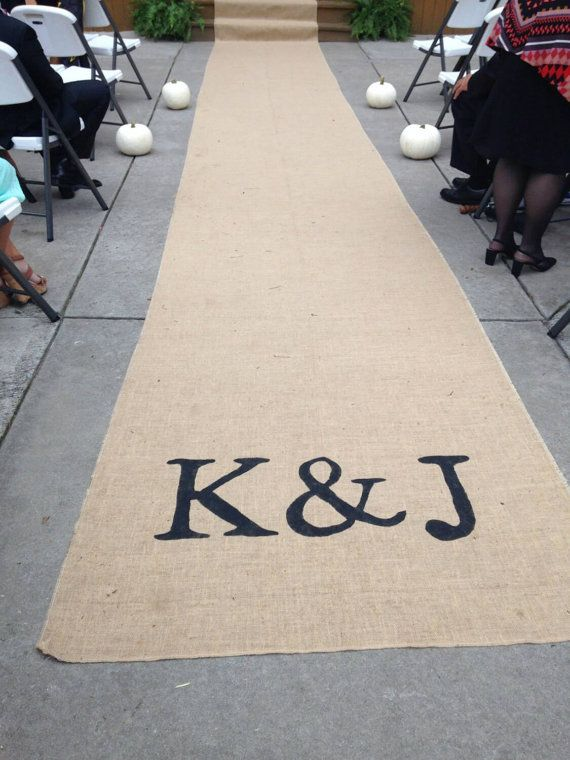 48 wide/ Burlap aisle runner with initials by zahrazart on Etsy