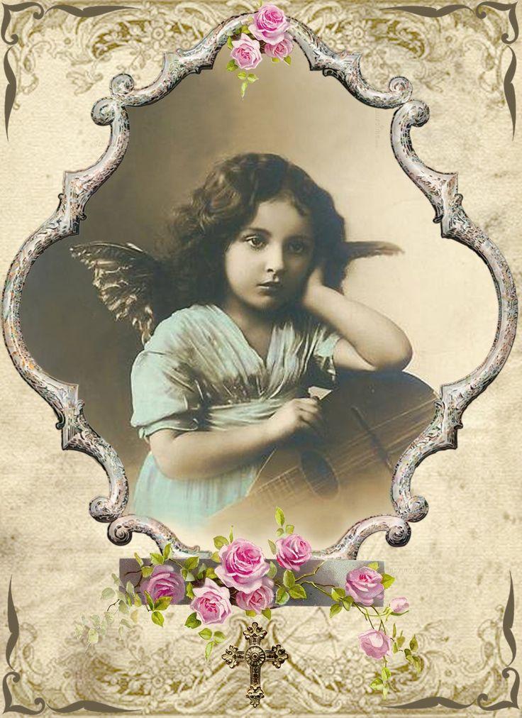 Vintage Angel Digital Collage Free To Use