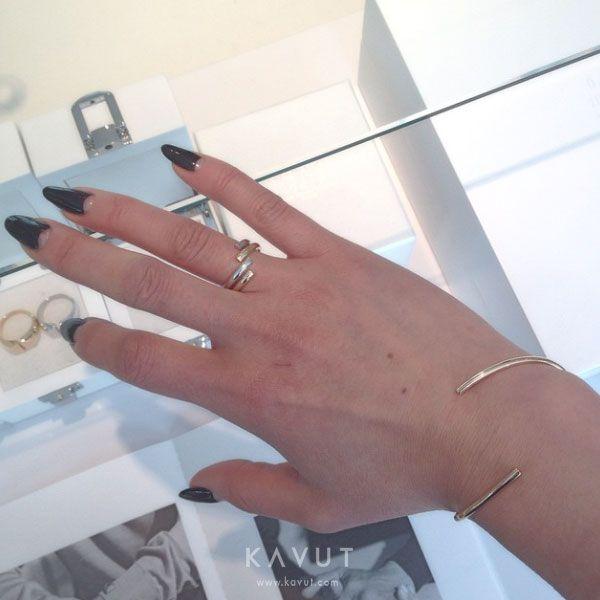 MAISON MARGIELA FINE JEWELRY Alliance Yellow Gold Split Bracelet, Alliance Yellow Gold Split Ring & Alliance White Gold Split Ring
