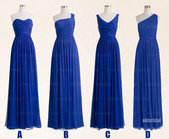 Royal blue bridesmaid dresses, cheap bridesmaid dresses, chiffon bridesmaid dresses, dresses for prom, long bridesmaid dresses, RE412 on Etsy, $144.83 AUD