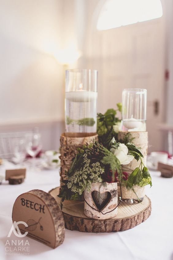 woodland inspired spring wedding, where we brought the outside 'in' with tree-style centrepieces, wood slices, bark wrapped containers / http://www.deerpearlflowers.com/rustic-wedding-centerpieces-with-bark-container/