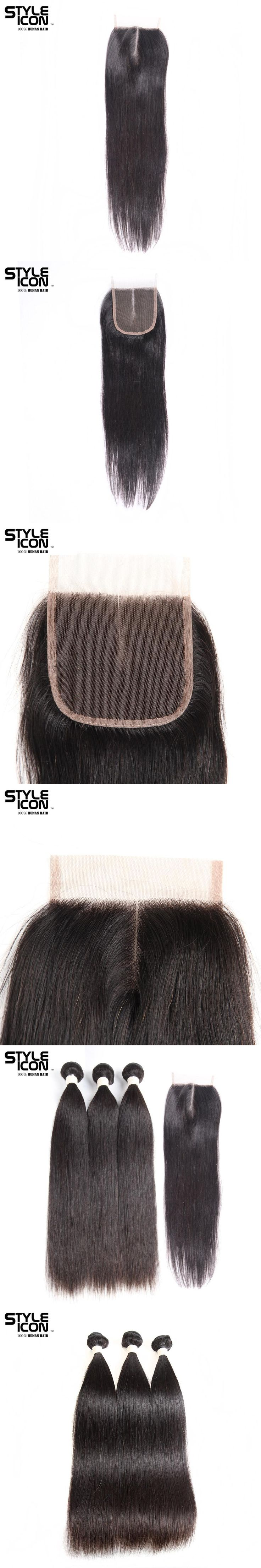 Styleicon Pre-colored Bundles With Closure Remy Malaysian Straight Hair Weave Bundles Extensions 3 Bundles With Closure