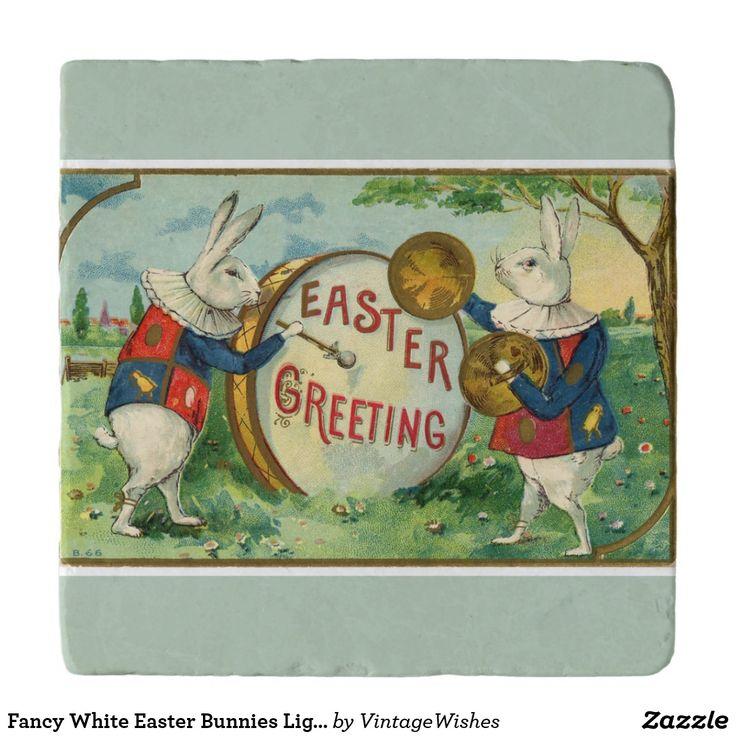 Fancy White Easter Bunnies Light Green Trivet