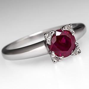 Vintage Ruby Solitaire Engagement Ring Platinum