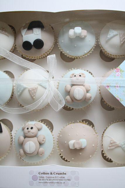 #love the colour. KatieSheaDesign ♡❤ ❥ gorgeous baby boy cupcakes