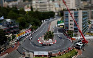 McLaren's Jenson Button races during the first practice of the Monaco grand prix