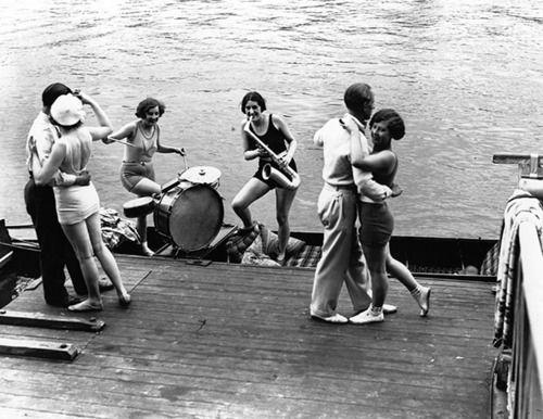 Dancing down by the riverside c.1929Life, Vintage, Parties, Rivers Photographers, Riverside C1929, Jazz, Jam Session, Couples Dance, Photographers Prints