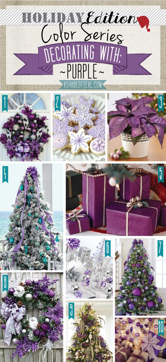 Holiday Color Series; Decorating with Purple. Purple holiday home decor | A Shade Of Teal