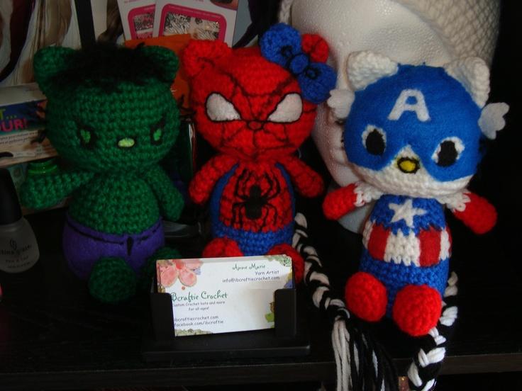 iBcraftie Crochet Original Designs Hulk Kittie, Spider Kittie, and Captain America Kittie