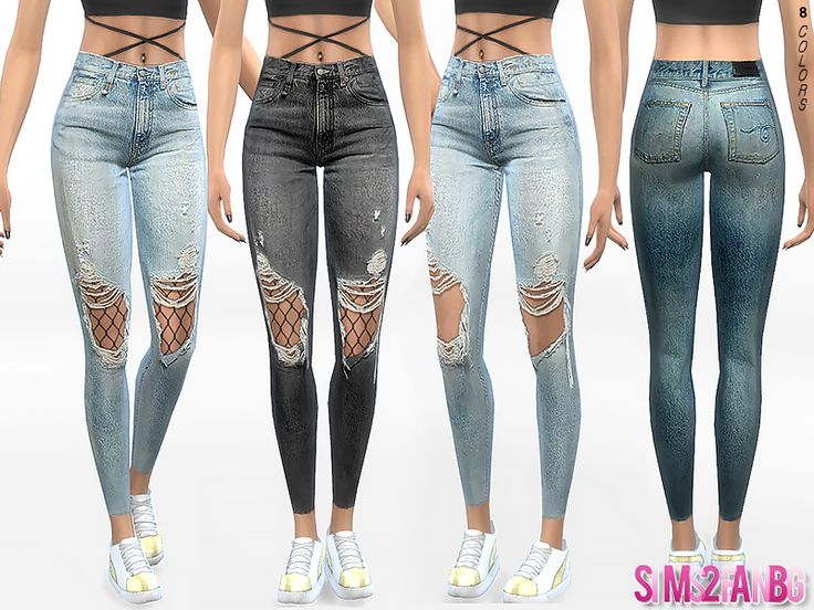 .:332 - Ripped Skinny Jeans With Tights:. Found in TSR Category 'Sims 4 Female Everyday'