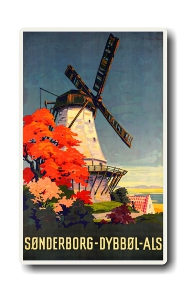 DENMARK = Dybbøl Mill by Sven Henriksen. Sønderborg, the main city on Als island, is beautifully situated by Flensburg Fjord #vintage #travel #poster