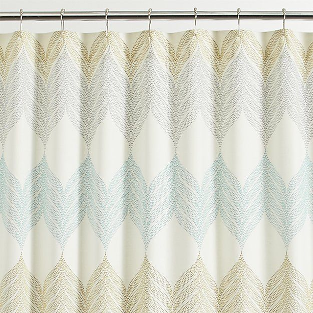 Shop Sheesha Leaf Shower Curtain.  Tropical leaves go end to end in soft pastel shades of aqua, grey and light olive on a cream-colored background, adding  a breath of serene color to the bath.