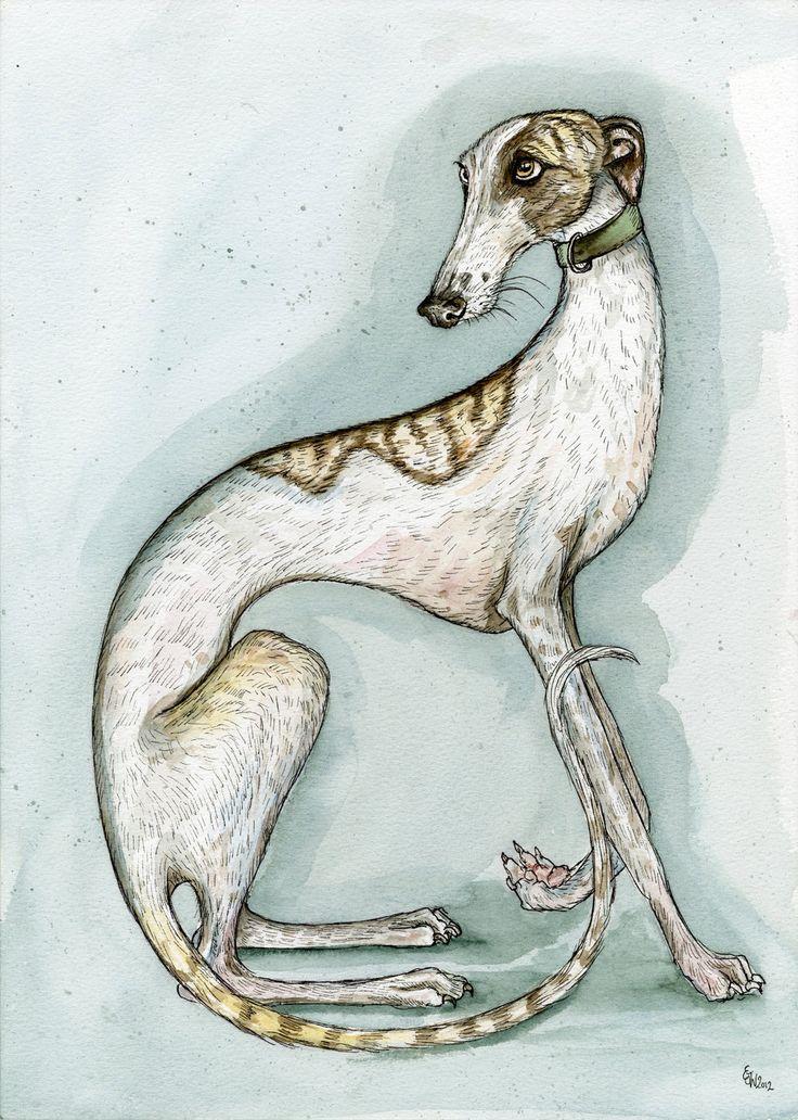 A Little Dirty Laundry - Greyhound Art Print by Elle J. Wilson